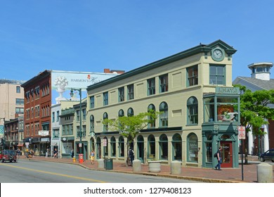 PORTLAND, ME, USA - JUN 20, 2015: Portland Arts District H. H. Hay Building was built in 1820 at the corner of Free and Congress streets in the heart of Arts District of Portland, Maine, USA.