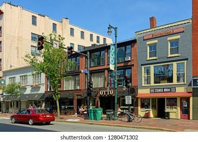 PORTLAND, ME, USA - JUN 20, 2015: Portland Arts District Congress Street is regarded as the heart of Arts District of Portland, Maine, USA.
