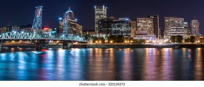Portland night skyline from the Eastbank Esplanade