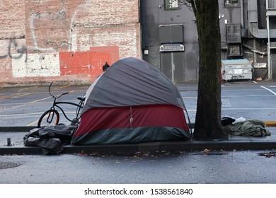 PORTLAND- OCTOBER 20:  Homeless Tent in Portland, Oregon, as seen on October 20, 2019.