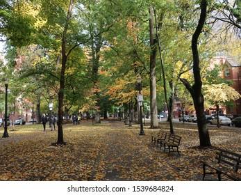 PORTLAND- OCTOBER 20:  South Park Blocks in Portland, Oregon, as seen on October 20, 2019.  South Park Blocks is a twelve block city park.