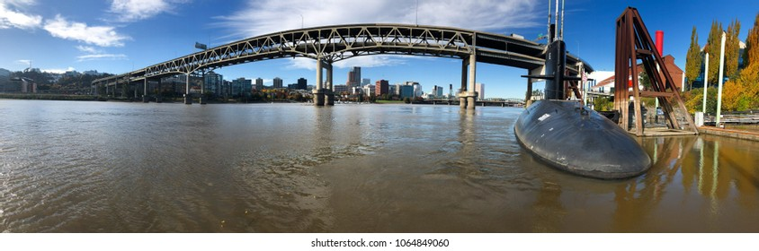 PORTLAND, OR - OCTOBER 24, 2017: Submarine docks ready for sub tours at OMSI in downtown Portland Oregon along the Willamette River.