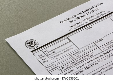 Portland, OR, USA - Jun 20, 2020: Closeup of USCIS Form I-821D, Consideration of Deferred Action for Childhood Arrivals.