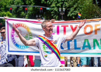 Portland OR, USA - June 17, 2018: Portland's mayor, Ted Wheeler during the 2018 Pride Parade through the streets of downtown Portland.