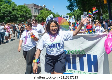 Portland OR, USA - June 17, 2018: City council candidate Loretta Smith during the 2018 Pride Parade through the streets of downtown Portland.