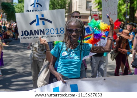 Portland OR, USA - June 17, 2018: City council candidate Joann Hardesty during the 2018 Pride Parade through the streets of downtown Portland.