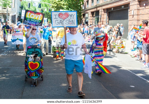 Portland OR, USA - June 17, 2018: during the 2018 Pride Parade through the streets of downtown Portland.