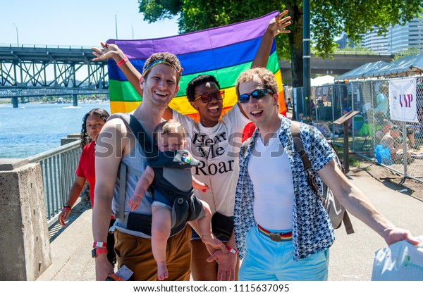Portland OR, USA - June 17, 2018: Thousands fill the streets for the annual Pride Parade through the streets of downtown Portland.