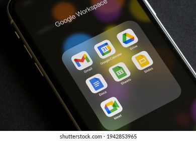Portland, OR, USA - Mar 10, 2021: The core apps included in Google Workspace (formerly G Suite) are seen on an iPhone - Gmail, Calendar, Drive, Docs, Sheets, Slides, and Meet.