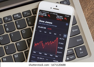 Portland, OR, USA - Mar 12, 2020: Dow Jones Index seen on a smartphone. Stocks plunge into bear market territory in response to the coronavirus outbreak.