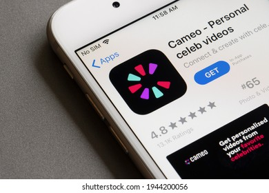 Portland, OR, USA - Mar 26, 2021: Cameo - Personal celeb videos app is seen in the App Store on an iPhone. Cameo is an online marketplace where users can book personalized shout-outs from celebrities.