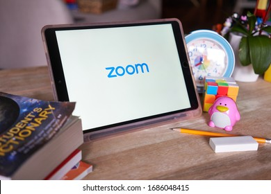 Portland, OR, USA - Mar 28, 2020: Zoom mobile app welcome page seen on an iPad. As Covid-19 leads to cities quarantined, Zoom emerges as one of the top tools to keep business up and students learning.