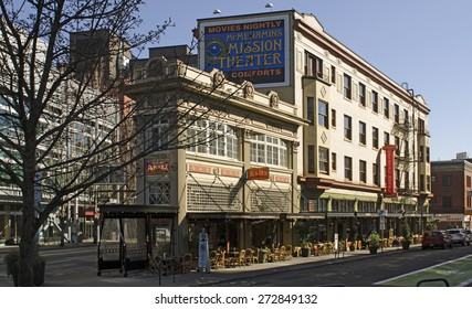 Portland, OR, USA - March 7, 2015: McMenamins Crystal Hotel and Ballroom in downtown Portland Oregon off of Burnside.  Microbrew craft beer restaurant
