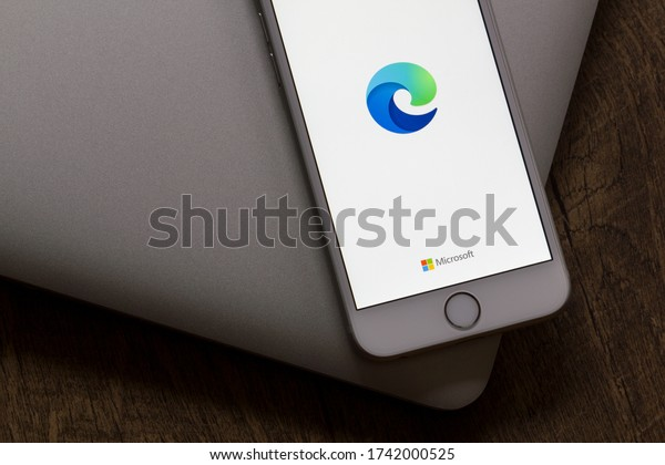 Portland, OR, USA - May 26, 2020: Microsoft Edge mobile app welcome page is seen on a smartphone. The new Microsoft Edge is based on Chromium and was released on January 15, 2020.