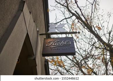 Portland, OR, USA - Nov 5, 2019: The entrance sign at a Kiehl's retail store in Portland. Kiehl's LLC is an American cosmetics brand retailer that specializes in skin, hair, and body care products.