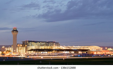 Portland, Ore / USA - April 2019: Portland International Airport (PDX) at night - the biggest and best airport in the state of Oregon in the Pacific Northwest.