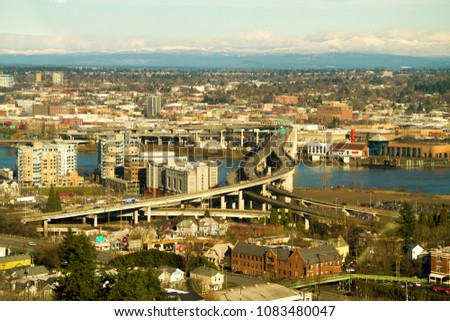 Portland Oregon 1102011 Marquam Bridge Carrying Stock Photo (Edit