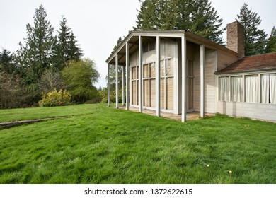 Portland, Oregon - Apr 15, 2019: The Aubrey R. Watzek House, designed by architect John Yeon and built in 1936-1937. It is now part of the University of Oregon's John Yeon Center for Architecture.