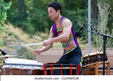 PORTLAND, OREGON - APRIL 1, 2017: Taiko Drummer performing at the grand opening of Portland Japanese Garden New Expansion Cultural Village