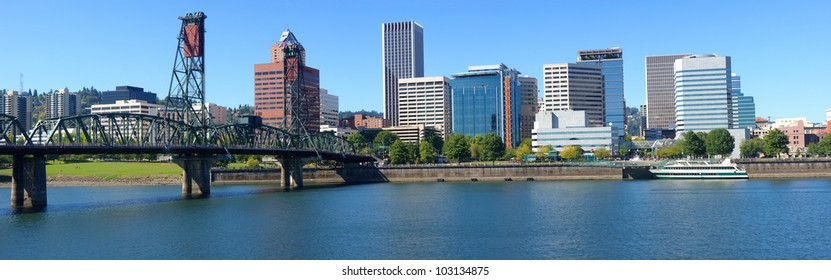 Portland Oregon architecture, the Spirit of Portland ship and river.
