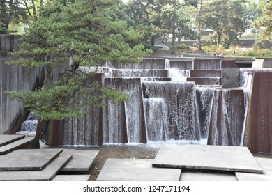 PORTLAND, OREGON - AUG 21: Ira Keller Fountain in Portland, Oregon, as seen on Aug 21, 2018. The fountain's pools hold 75,000 US gallons of water.
