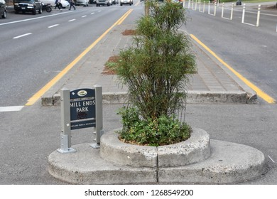 PORTLAND, OREGON - AUG 22: Mills End Park in Portland, Oregon, on Aug 22, 2018. It is the smallest park in the world, per Guinness Book of Records, which first granted it this recognition in 1971.
