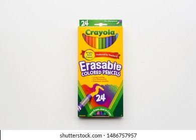 Portland, Oregon - Aug 23, 2019: Crayola brand Erasable Colored Pencils isolated on white. Crayola LLC, formerly Binney & Smith, is an American handicraft company, specializing in artists' supplies.