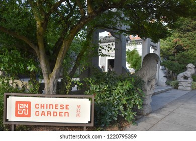 PORTLAND, OREGON – AUG 23: Lan Su Chinese Garden in Chinatown in Portland, Oregon, seen on Aug 23, 2018. It is a walled Chinese garden enclosing a full city block, roughly 40,000 sq ft in Chinatown.