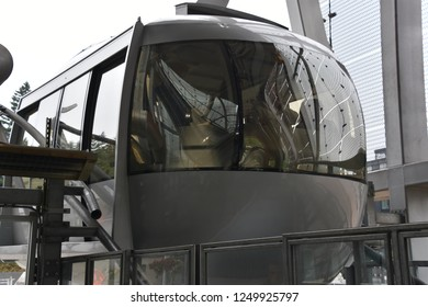 PORTLAND, OREGON - AUG 25: Portland Aerial Tram or Oregon Health & Science University Tram, on Aug 25, 2018. It is one of only 2 commuter aerial tramways in the US, the other being Roosevelt in NYC.