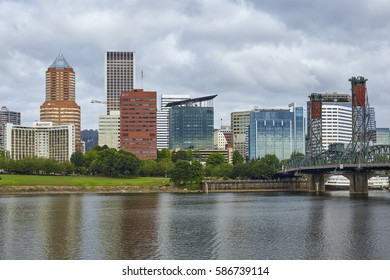 PORTLAND, OREGON - AUGUST 6, 2016 - View of the Portland skyline from across the Willamette River