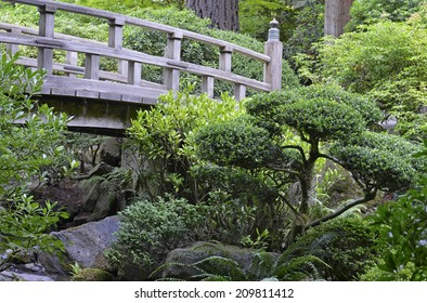 PORTLAND OREGON CIRCA JULY 2014. Portland's Japanese Garden is one of the top attractions contributing to city's increase in popularity with tourists as well as its recent growth in population.