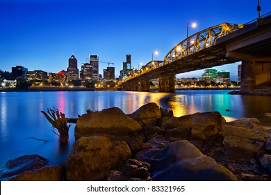 Portland Oregon City Skyline along Willamette River at Blue Hour