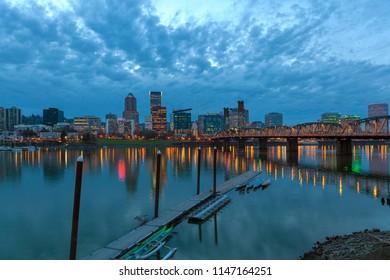 Portland Oregon Downtown City Skyline Along Willamette River at Blue Hour After Sunset