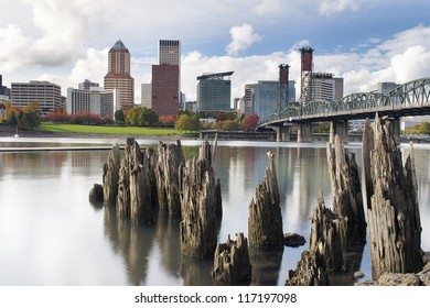 Portland Oregon Downtown City Skyline from the Waterfront of Willamette River in Autumn