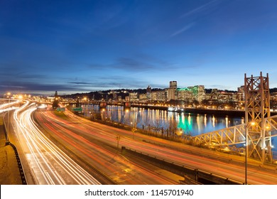 Portland Oregon Downtown Cityscape with Freeway Traffic Light Trails during Evening Blue Hour
