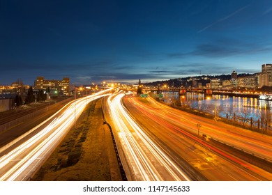 Portland Oregon Downtown Cityscape with Interstate Freeway Traffic Light Trails during Evening Blue Hour