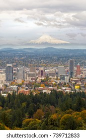 Portland Oregon downtown cityscape and Mount Hood view in Fall Season