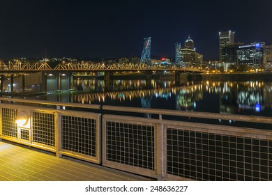 Portland Oregon Downtown Skyline and Hawthorne Bridge View from Eastbank Esplanade at Night