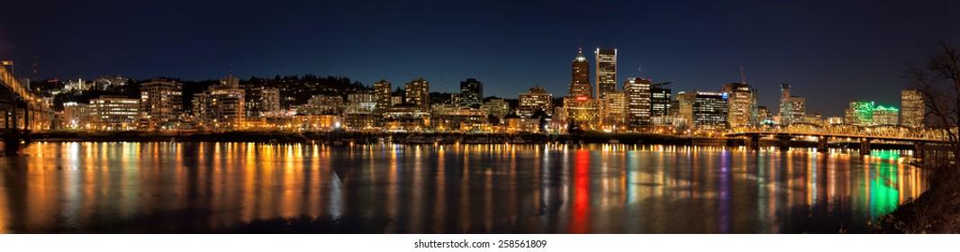 Portland Oregon Downtown Waterfront City Skyline Along Willamette River Night Scene Panorama