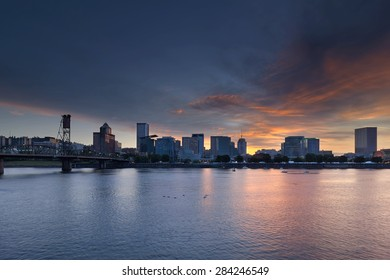 Portland Oregon Downtown Waterfront City Skyline during Rose Festival at Sunset