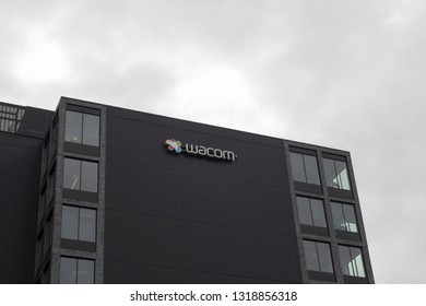 Portland, Oregon - Feb 8, 2019: The Wacom sign at Wacom's American Headquarters. Wacom is a Japanese company that specializes in graphics tablets and related products.