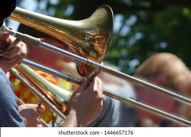 PORTLAND, OREGON - JUL 4, 2019 - Trombone player entertains the crowd at the Waterfront Blues Festival, Portland, Oregon
