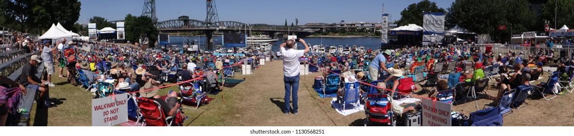 PORTLAND, OREGON - JUL 5, 2018 - Crowd enjoys listening on a sunny day at the Waterfront Blues Festival, Portland, Oregon