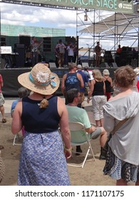 PORTLAND, OREGON - JUL 5, 2018 - Crowd enjoys listening on a sunny day at the Waterfront Blues Festival, Portland, Oregon