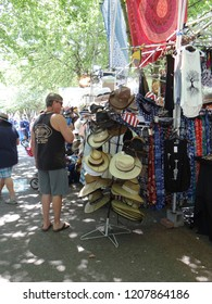 PORTLAND, OREGON - JUL 5, 2018 - Shopping for summer clothes at the Waterfront Blues Festival, Portland, Oregon