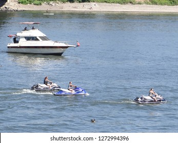 PORTLAND, OREGON - JUL 5, 2018 - Jet skis on the Willamette River during the Waterfront Blues Festival, Portland, Oregon