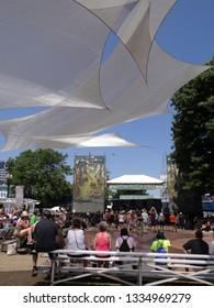 PORTLAND, OREGON - JUL 5, 2018 - People dancee to zydeco music, Waterfront Blues Festival, Portland, Oregon