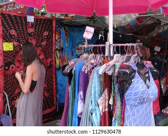 PORTLAND, OREGON - JUL 6, 2018 - Shopping for summer clothes at the Waterfront Blues Festival, Portland, Oregon