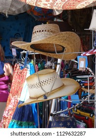PORTLAND, OREGON - JUL 6, 2018 - Summer hats on sale at the Waterfront Blues Festival, Portland, Oregon