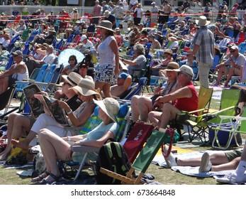 PORTLAND, OREGON - JUN 30, 2017 - Crowd enjoys the music on a sunny day   in  Portland,  Oregon